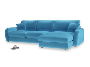 XL Right Hand  Easy Squeeze Chaise Sofa in Teal Blue plush velvet