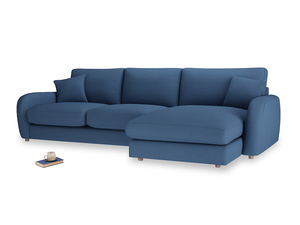 XL Right Hand  Easy Squeeze Chaise Sofa in True blue Clever Linen