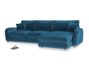 XL Right Hand  Easy Squeeze Chaise Sofa in Twilight blue Clever Deep Velvet