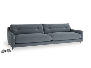 Extra large Slim Jim Sofa in Blue Storm washed cotton linen