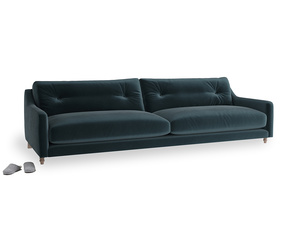 Extra large Slim Jim Sofa in Bluey Grey Clever Deep Velvet