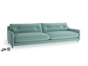 Extra large Slim Jim Sofa in Greeny Blue Clever Deep Velvet