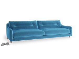 Extra large Slim Jim Sofa in Teal Blue plush velvet