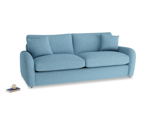 Large Easy Squeeze Sofa Bed in Moroccan blue clever woolly fabric