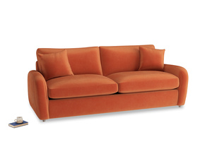 Large Easy Squeeze Sofa Bed in Old Orange Clever Deep Velvet