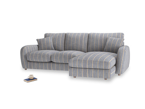 Large right hand Easy Squeeze Chaise Sofa in Brittany Blue french stripe