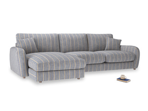 XL Left Hand  Easy Squeeze Chaise Sofa in Brittany Blue french stripe