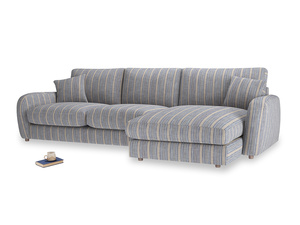 XL Right Hand  Easy Squeeze Chaise Sofa in Brittany Blue french stripe