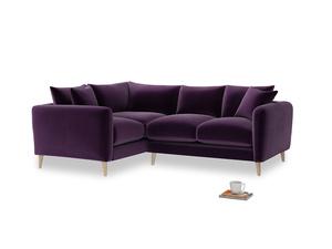 Large Left Hand Squishmeister Corner Sofa in Deep Purple Clever Deep Velvet