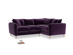 Large Right Hand Squishmeister Corner Sofa in Deep Purple Clever Deep Velvet