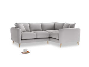 Large Right Hand Squishmeister Corner Sofa in Flint brushed cotton