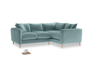 Large Right Hand Squishmeister Corner Sofa in Lagoon clever velvet