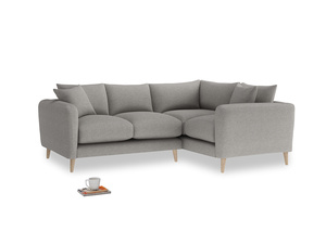 Large Right Hand Squishmeister Corner Sofa in Marl grey clever woolly fabric