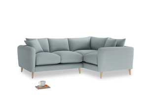 Large Right Hand Squishmeister Corner Sofa in Quail's egg clever linen