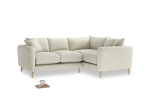 Large Right Hand Squishmeister Corner Sofa in Stone Vintage Linen