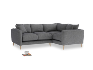 Large Right Hand Squishmeister Corner Sofa in Strong grey clever woolly fabric