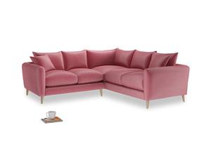 Even Sided Squishmeister Corner Sofa in Blushed pink vintage velvet