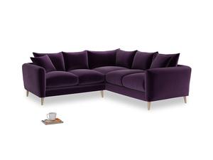 Even Sided Squishmeister Corner Sofa in Deep Purple Clever Deep Velvet