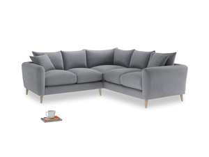 Even Sided Squishmeister Corner Sofa in Dove grey wool