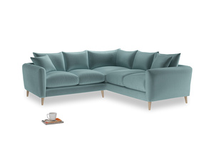Even Sided Squishmeister Corner Sofa in Lagoon clever velvet