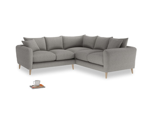 Even Sided Squishmeister Corner Sofa in Marl grey clever woolly fabric