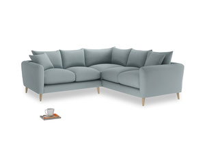 Even Sided Squishmeister Corner Sofa in Quail's egg clever linen