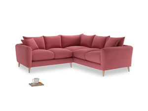 Even Sided Squishmeister Corner Sofa in Raspberry brushed cotton