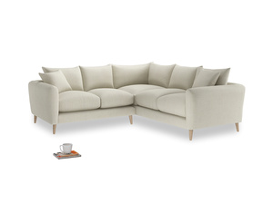Even Sided Squishmeister Corner Sofa in Stone Vintage Linen