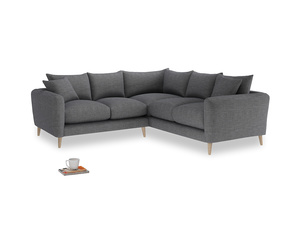 Even Sided Squishmeister Corner Sofa in Strong grey clever woolly fabric
