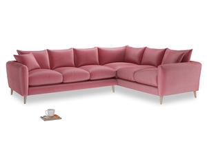 Xl Right Hand Squishmeister Corner Sofa in Blushed pink vintage velvet