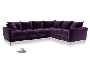 Xl Right Hand Squishmeister Corner Sofa in Deep Purple Clever Deep Velvet