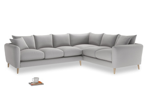 Xl Right Hand Squishmeister Corner Sofa in Flint brushed cotton