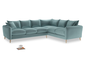 Xl Right Hand Squishmeister Corner Sofa in Lagoon clever velvet