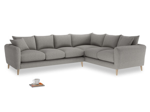 Xl Right Hand Squishmeister Corner Sofa in Marl grey clever woolly fabric