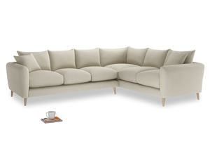 Xl Right Hand Squishmeister Corner Sofa in Pale rope clever linen