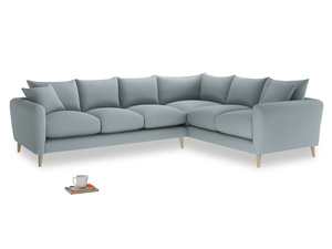 Xl Right Hand Squishmeister Corner Sofa in Quail's egg clever linen