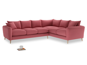 Xl Right Hand Squishmeister Corner Sofa in Raspberry brushed cotton