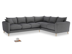 Xl Right Hand Squishmeister Corner Sofa in Strong grey clever woolly fabric