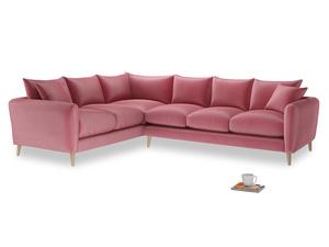Xl Left Hand Squishmeister Corner Sofa in Blushed pink vintage velvet