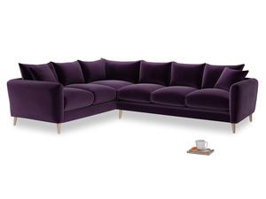 Xl Left Hand Squishmeister Corner Sofa in Deep Purple Clever Deep Velvet