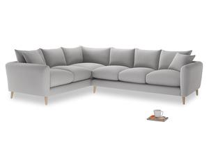 Xl Left Hand Squishmeister Corner Sofa in Flint brushed cotton