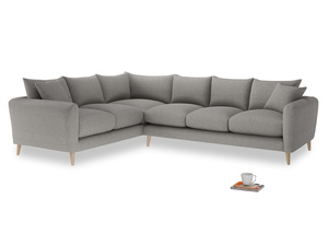 Xl Left Hand Squishmeister Corner Sofa in Marl grey clever woolly fabric