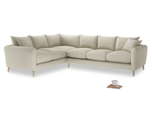 Xl Left Hand Squishmeister Corner Sofa in Pale rope clever linen