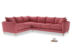 Xl Left Hand Squishmeister Corner Sofa in Raspberry brushed cotton