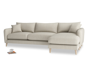 XL Right Hand  Squishmeister Chaise Sofa in Thatch house fabric
