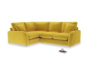 Large Left Hand Easy Squeeze Corner Sofa in Bumblebee clever velvet