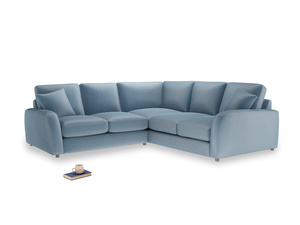 Even Sided Easy Squeeze Corner Sofa in Chalky blue vintage velvet