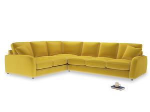 Xl Left Hand Easy Squeeze Corner Sofa in Bumblebee clever velvet
