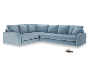 Xl Left Hand Easy Squeeze Corner Sofa in Chalky blue vintage velvet