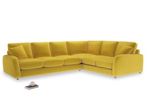 Xl Right Hand Easy Squeeze Corner Sofa in Bumblebee clever velvet